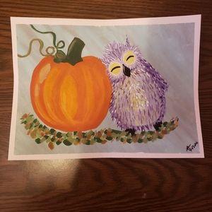 Autumn friends pumpkin n owl painting